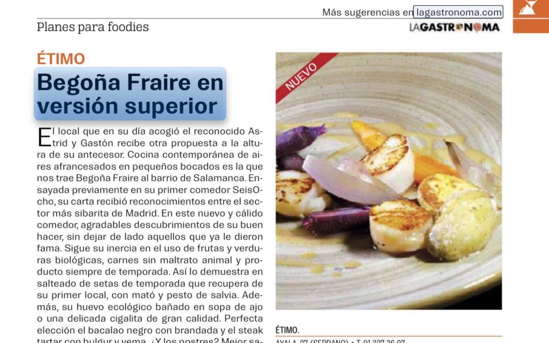 Begoña Fraire en versión superior. Lagastronoma.com
